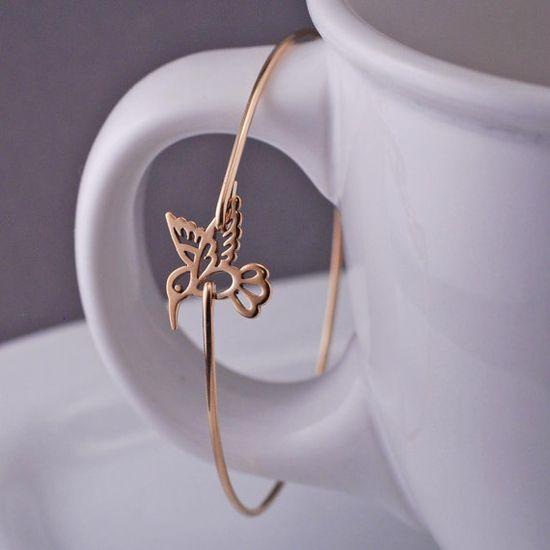 Gold Hummingbird Bracelet by georgiedesigns