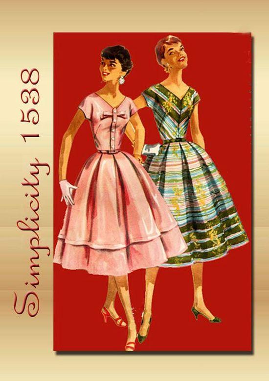 1950s Dress Pattern Vintage Simplicity 1538 Summer V Neck and Full Bouffant Skirt
