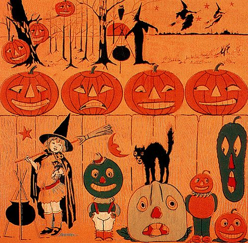 Vintage Halloween Crepe Paper Tablecloth - detail.