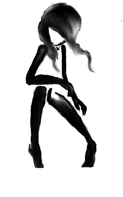 Black and white #black #white #girl #watercolor #brush #art #painting