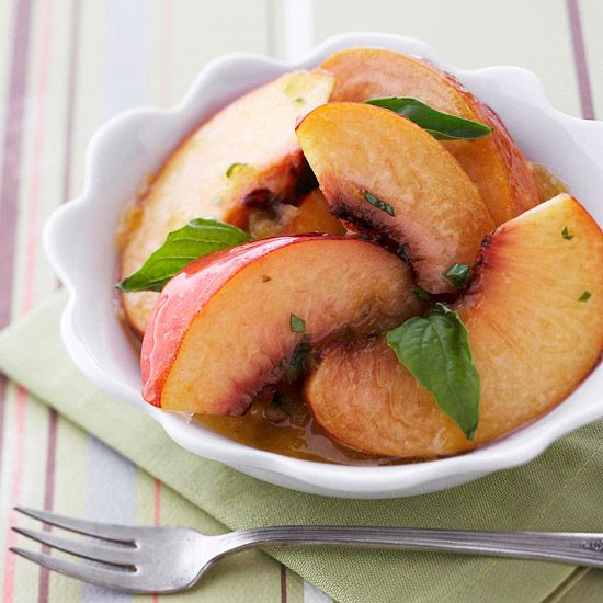Basil and sweet peaches create a unique and full of flavor dessert! More 30-minute desserts: www.bhg.com/...