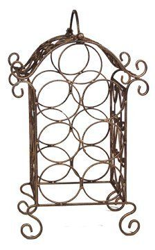 "Wrought Iron Wine Holder by Owlbehome. $34.95. Fully Welded. This wrought iron wine rack holds up to seven bottles. Sits on the floor or set it on the counter top, this compact wine rack can easily be carried to the backyard using the convenient built-in handle. Perfect as a house warming gift!  Size 12.75""x6.25""x20""H  Imported"