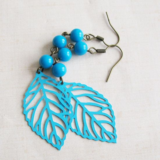 Turquoise Blue Leaf Dangle Earrings - Mayan Day - Gifts Under 15.00. $13.00, via Etsy.