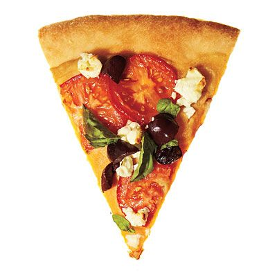 Greek Pizza- start with a hummus base, then top with plum tomatoes, black olives, feta cheese, and basil.