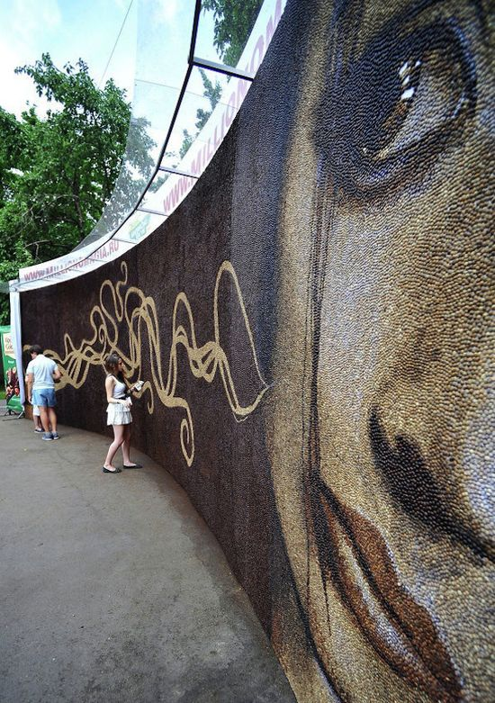 Mural Made From One Million Coffee Beans