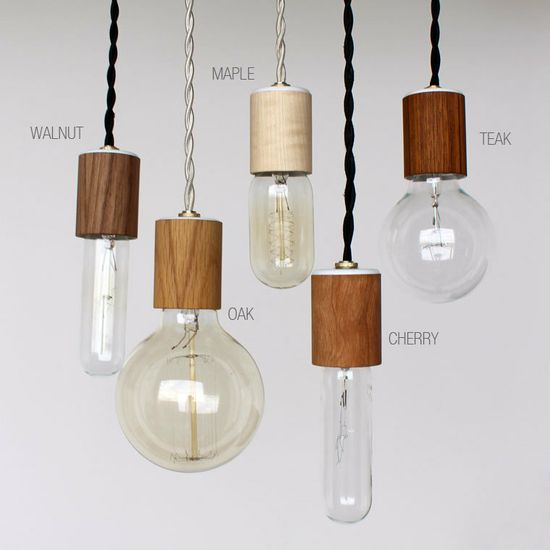 Wood veneered pendant light with bulb by onefortythree on Etsy