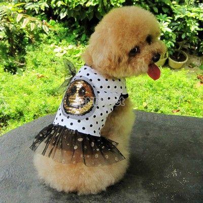 $3.99 Puppy Pet Clothes Summer Dog Cute Smiling Face Round Dot Little Skirt XS-XL