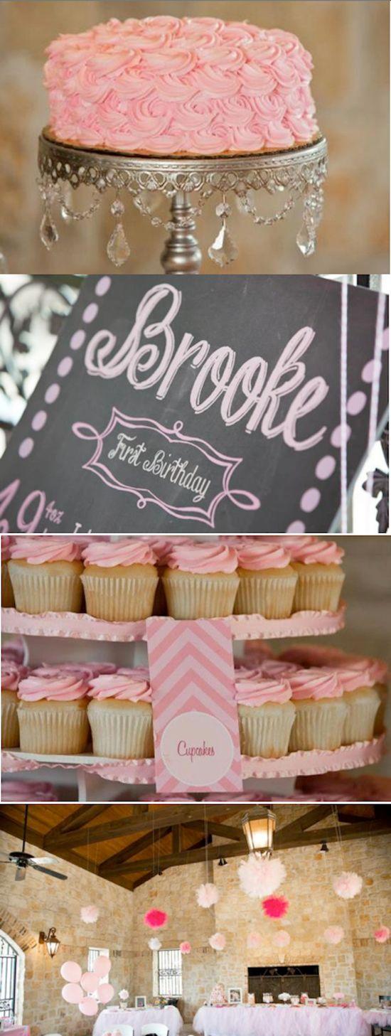 Sweet Vintage Pink Chevron 1st Birthday Party via Karas Party Ideas KarasPartyIdeas.com #sweet #vintage #pink #chevron #1st #birthday #party #ideas