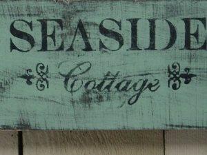 SEASIDE COTTAGE SIGN / Tiffany blue shabby chic / beach cottage decor