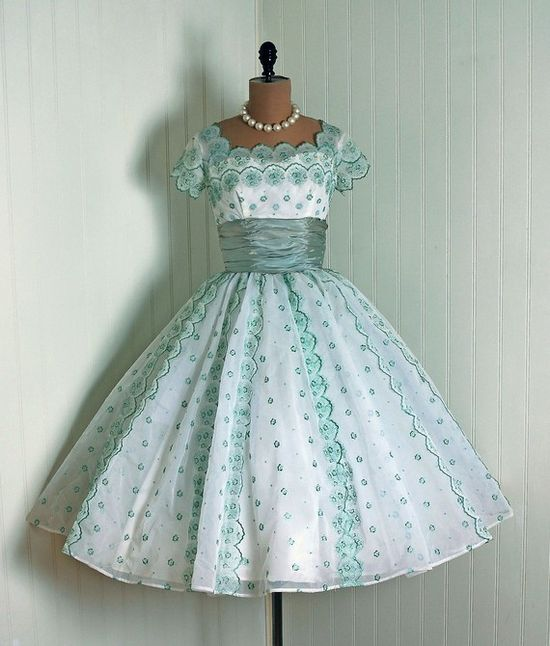 Party Dress: 1950's, lined and embroidered floral nylon chiffon, scalloped illusion bodice, wide cummerbund.