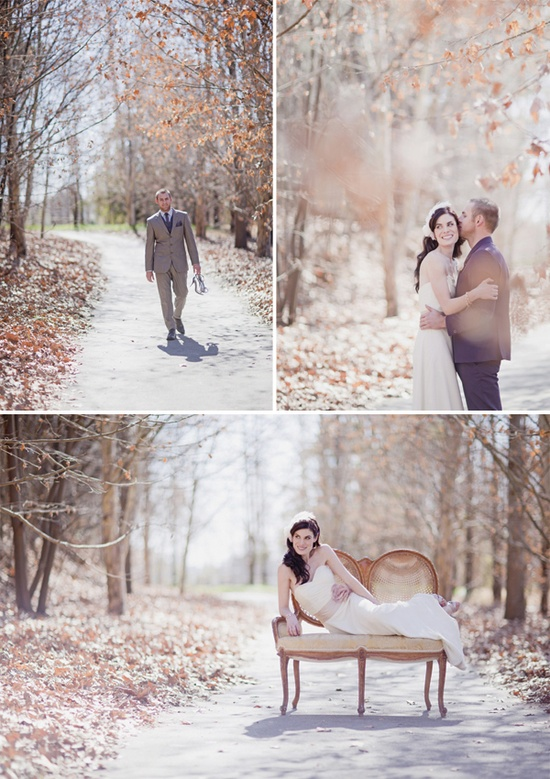 bride and groom portraits, winter