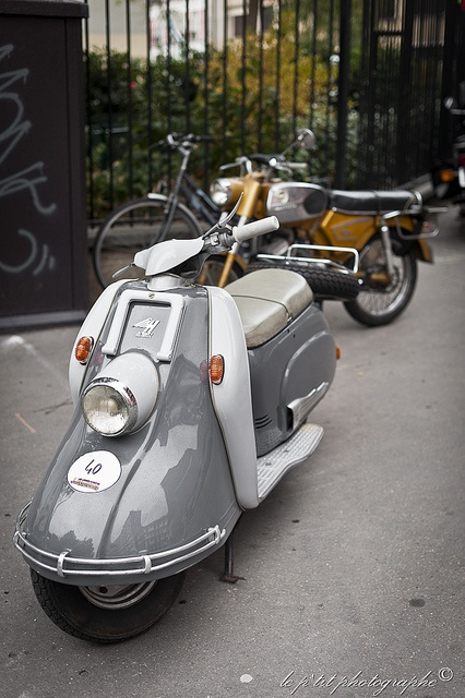 A clean and crisp vintage scooter.
