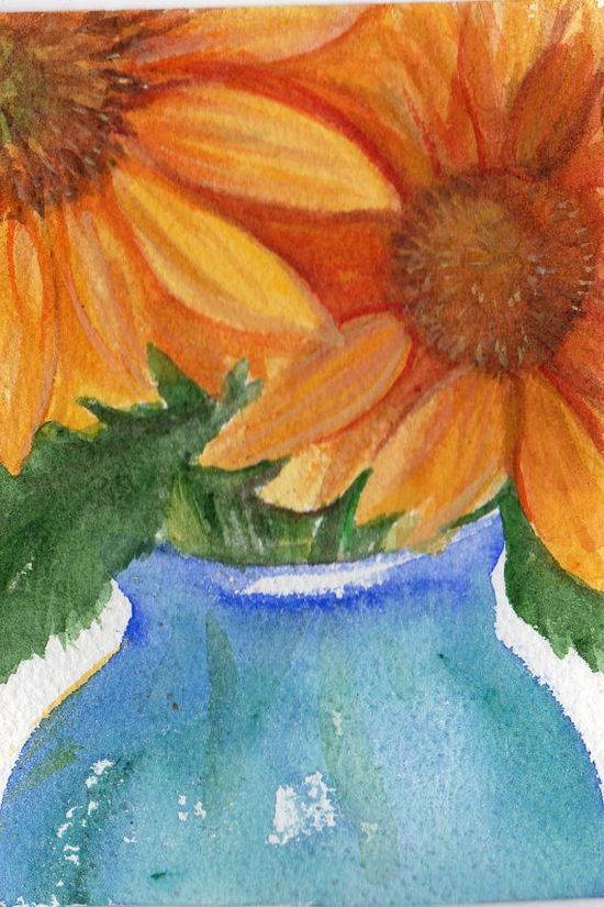Original Sunflower Painting Watercolor 4 by 6 by SharonFosterArt, $15.00