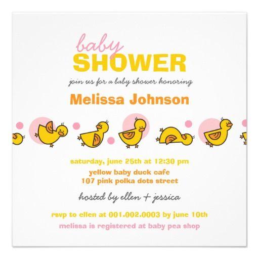 Cartoon Silly Duckies Baby Girl Shower Invitation