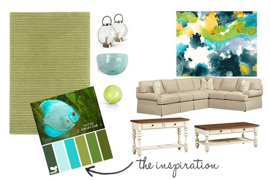 Living Room Design Board - Aqua and Green