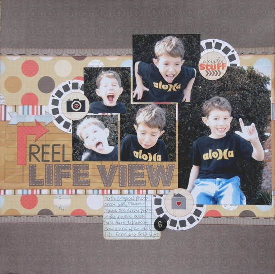 Reel Life View - Scrapbook.com -- love this title for a page of pics the kids took, and also the general layout