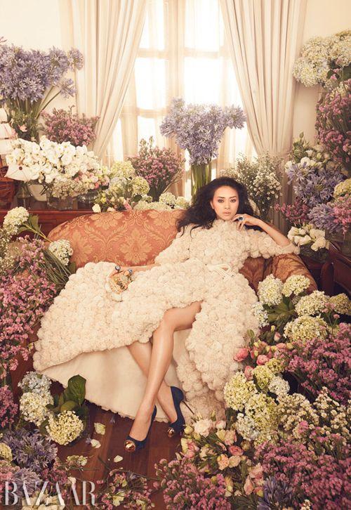 """""""Nothing ButFlowers"""". Ngo Thanh Van for Harper's Bazaar Vietnam, October 2012. Photo by Zhang Jingna."""