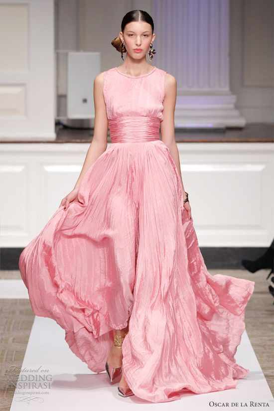 oscar de la renta wedding dress 2012 pink