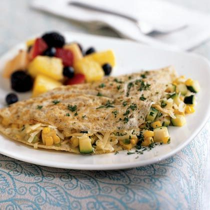 Omelet with Summer Vegetables Recipe by cookinglight via myrecipes: Try it with a fruit salad!  #Omelet #Vegetables #cookinglight #myrecipes