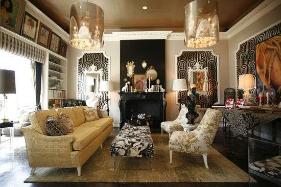 a whole lot of glam by ron woodson. i love the wallpaper.  #interior #design, #home, #inspiration, #decorator, #decor, #Lvmkt, #Hpmkt, #Atlmart