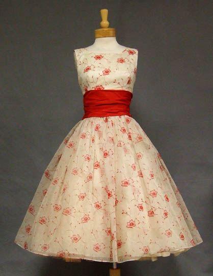 red & white flocked chiffon vintage dress