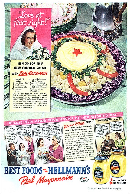 Apparently men go for this chicken salad with real mayonnaise. Good to know :D #vintage #food #ad #1930s #bride