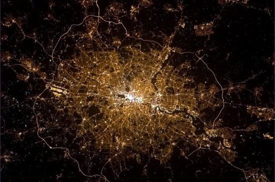 Astronaut Chris Hadfield aboard the International Space Station tweeted a picture of London at night (Chris Hadfield)