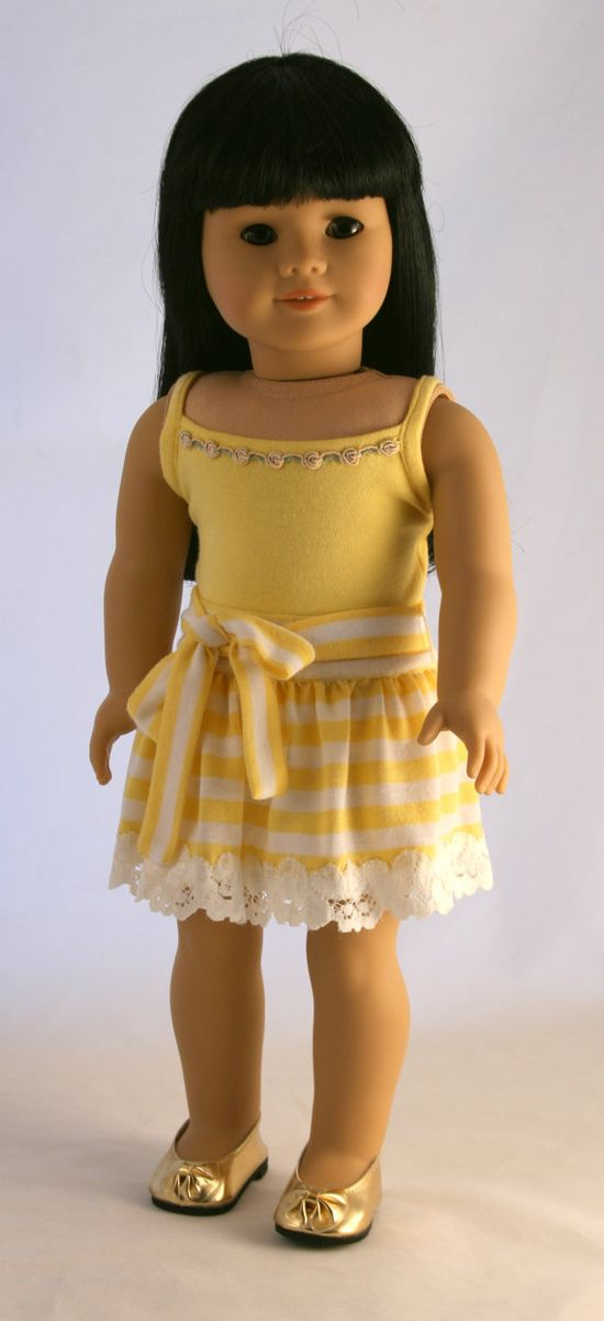 American Girl Doll Clothes  Striped Knit Skirt by Forever18Inches, $28.00
