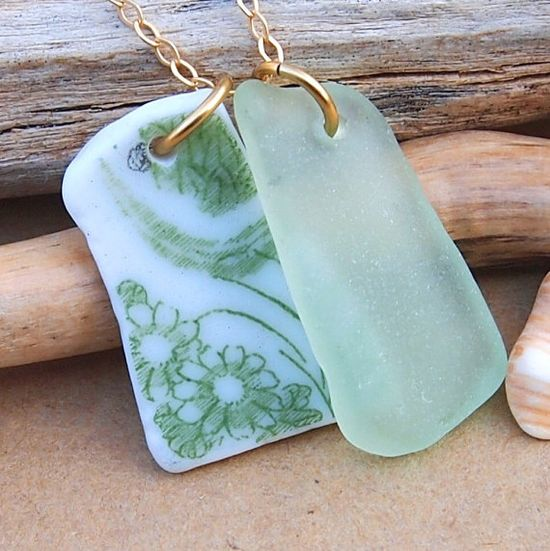 sea glass/pottery necklace