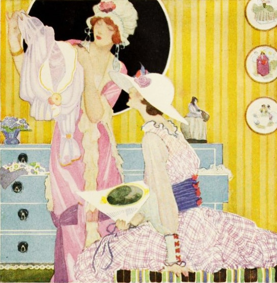 A colourful, lovely illustration from a 1918 Lux soap ad. #vintage #Edwardian #women
