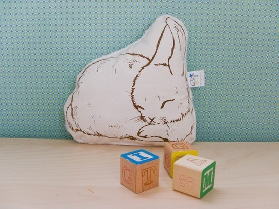Organic Sleeping Bunny Pillow  Nikita par AllWildCo sur Etsy, $30.00