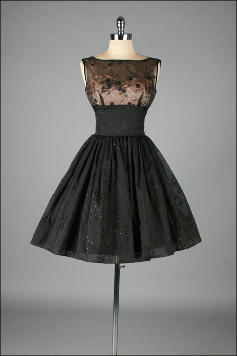 1950's Black Chiffon Glitter Flocked Dress