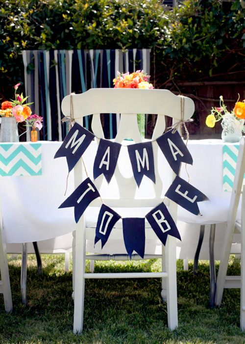 """DIY """"mama to be"""" chair sign for a baby shower"""