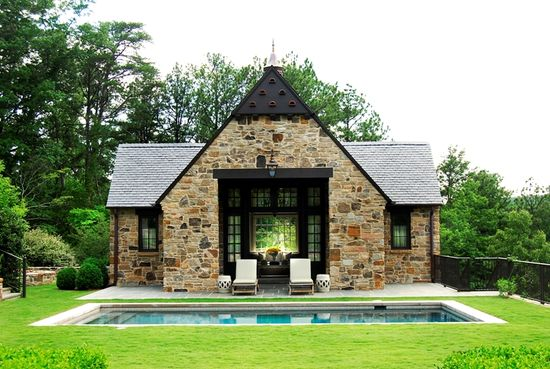 pool house - grass up to pool