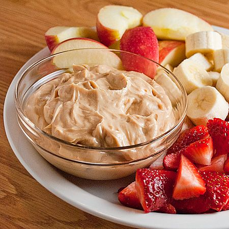 Peanut butter dip for fruit or veggies. 1/2 cup peanut butter to 1 cup vanilla yogurt.