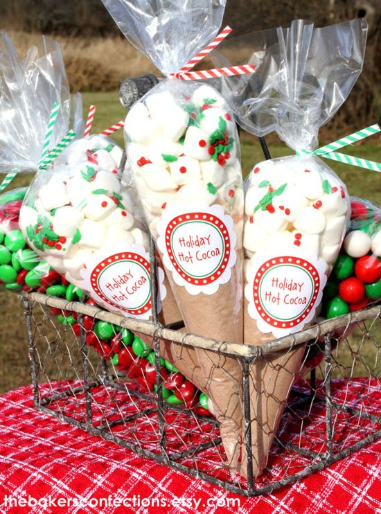 DIY Holiday Hot Cocoa Cello Cone Treat Bag Kit with Bags, Twist Ties and Labels - 6 x 12 inch (set of 15) Special Holiday Pricing