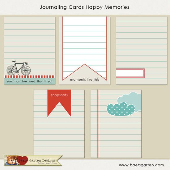 "PRINTABLE Journaling Cards ""Happy Memories"""
