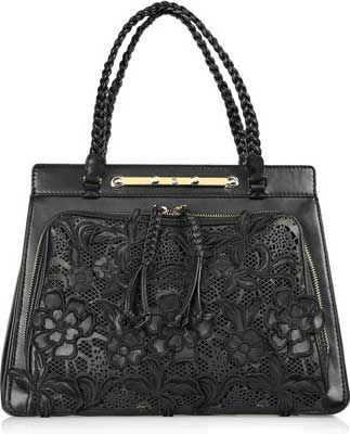 valentino leather and lace handbag