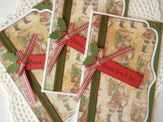 Handmade Christmas card set of 3 with old fashioned Santas