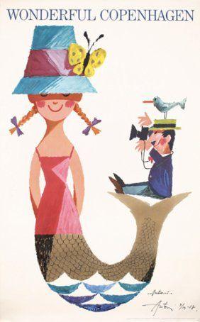 Creative: Eleven Ace Retro Artworks  (Original 1960s Hand-Signed Travel Poster Mermaid via Live Auctioneers)