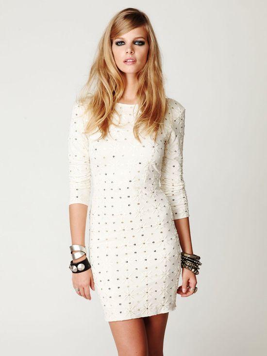 Cream Embellished Party Dress