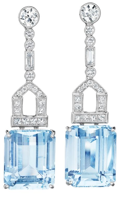 A Pair of Aquamarine and Diamond Ear Pendants. Each suspending a rectangular-cut aquamarine, weighing approximately 30.45 carats in total, from a square and circular-cut pavé-set diamond link, to the collet-set circular-cut diamond surmount, mounted in platinum, length 2 inches