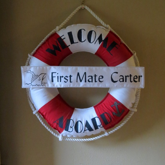 Custom Made Life Ring for ALL with Banner: Babies Birth, Wedding, House Warming Gift. Wreath Pillow or Nautical Home Decor. $65.00, via Etsy.