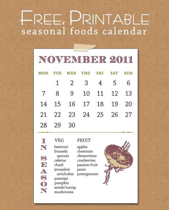 printable november seasonal food calendar