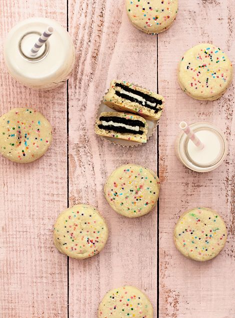 Oreo-stuffed funfetti cookies.