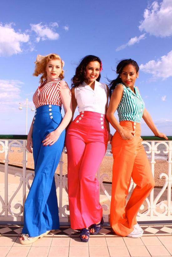 Renkli yüksek bel pantolon