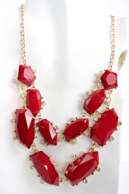 GOLD RUBY LAYERED GEMSTONE NECKLACE,PinkBasi... Jewelry:Women's Designer Jewelry,Fine & Fashion Jewelry,Pandora,Gemstones,Pearls,Rhineston...