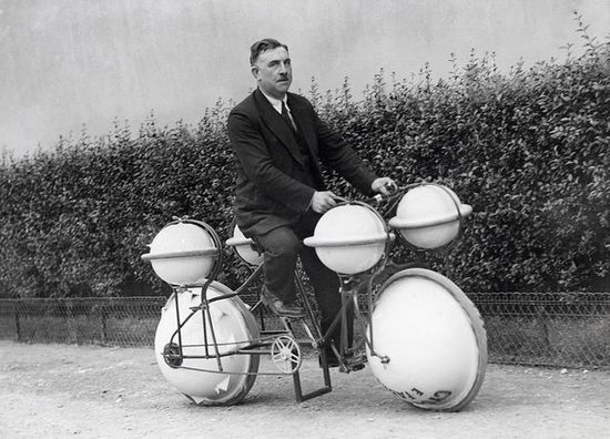 Amphibious bicycle. This land-and-water bike can carry a load of 120 pounds; Paris, 1932