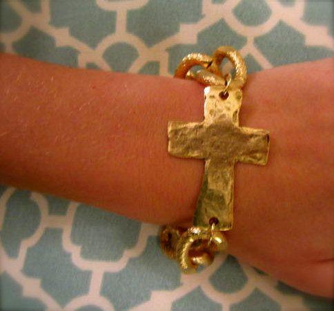 Hammered gold cross bracelet!