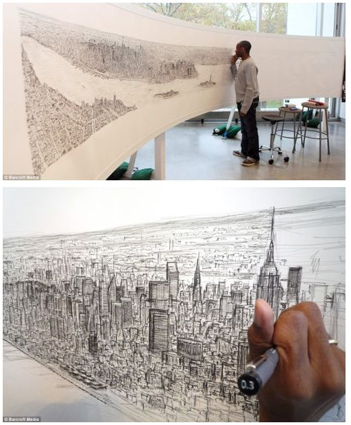 Autistic artist Stephen Wiltshire draws spellbinding 18ft picture of New York from memory after a 20-minute helicopter ride over the city.